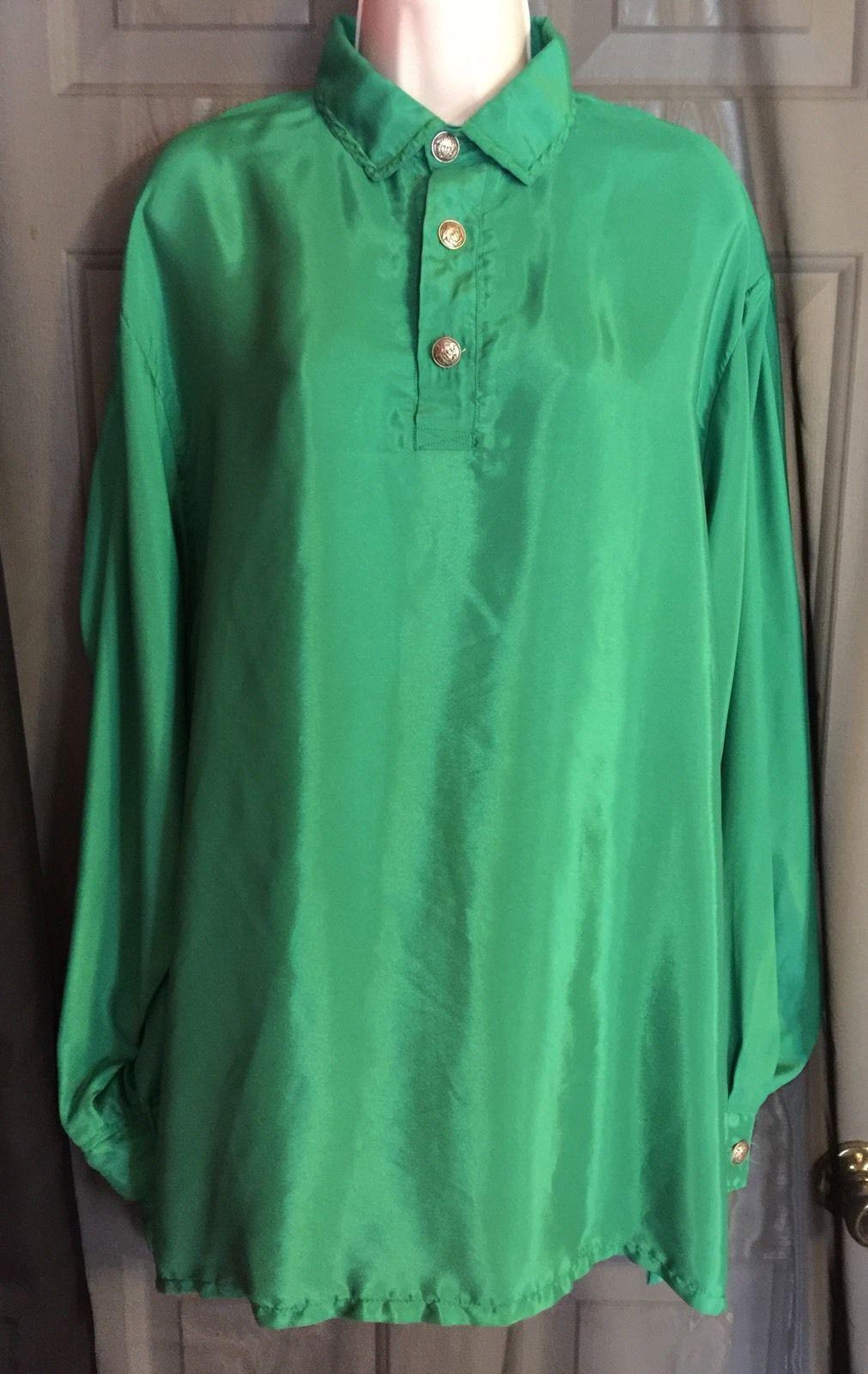 Vintage 90s Gianni Versace Green Couture 100 Silk Shirt Size 1x   eBay 1e84c29814d