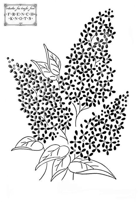 Lilac Embroidery Pattern From French Knots Free Vintage Graphics