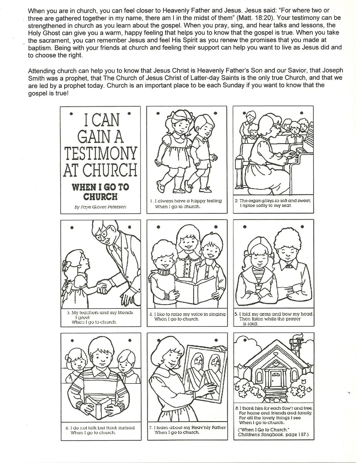 Primary 3 Manual Lesson 40 Worshiping At Church Journal Page Coloring From The Behold Your Little Ones Here