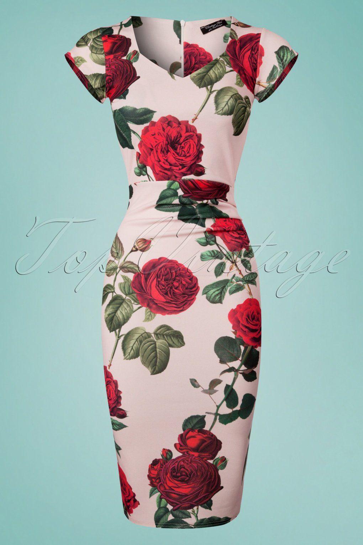 50s Celena Roses Pencil Dress In Light Pink Mariage Rockabilly Tendencies Short Shirt Detroit Polka Black Hitam M Gayez Votre Garde Robe Avec Cette Crayon Motif Des Annes 50