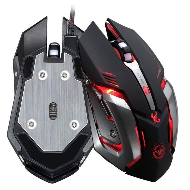 Adjustable 3500 DPI 6 Button Optical Custom Macros USB Wired Gaming Mouse Steel