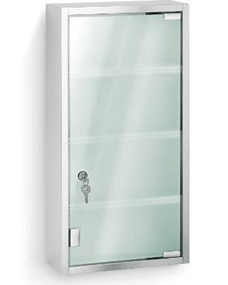Blomus 68200 Stainless Steel Locking Medicine Cabinet Features Frosted Gl With Matte Finished And Four Fixed Shelves