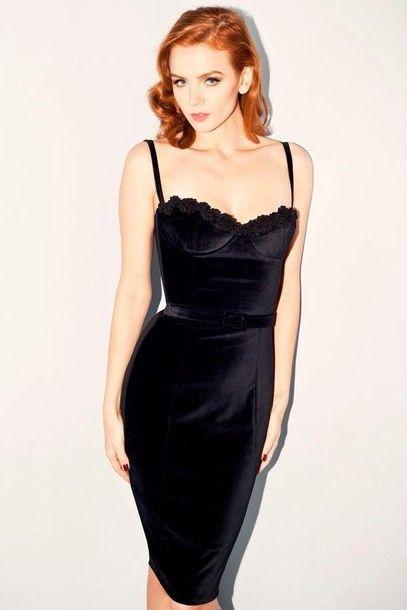 bfcd1c13ba Dress  black corset black velvet velvet short short fitted es gorgeous sexy  bodycon date red hair