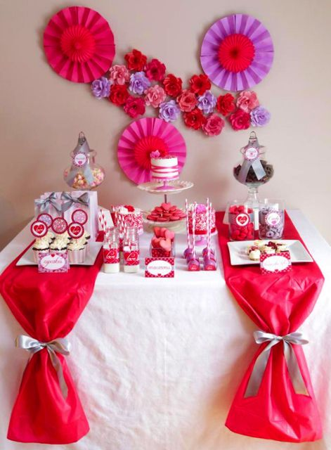 Red And Purple Valentines Flowers Valentine S Day Party Ideas Photo 4 Of 8 Valentines Party Valentines Day Decorations Purple Valentine