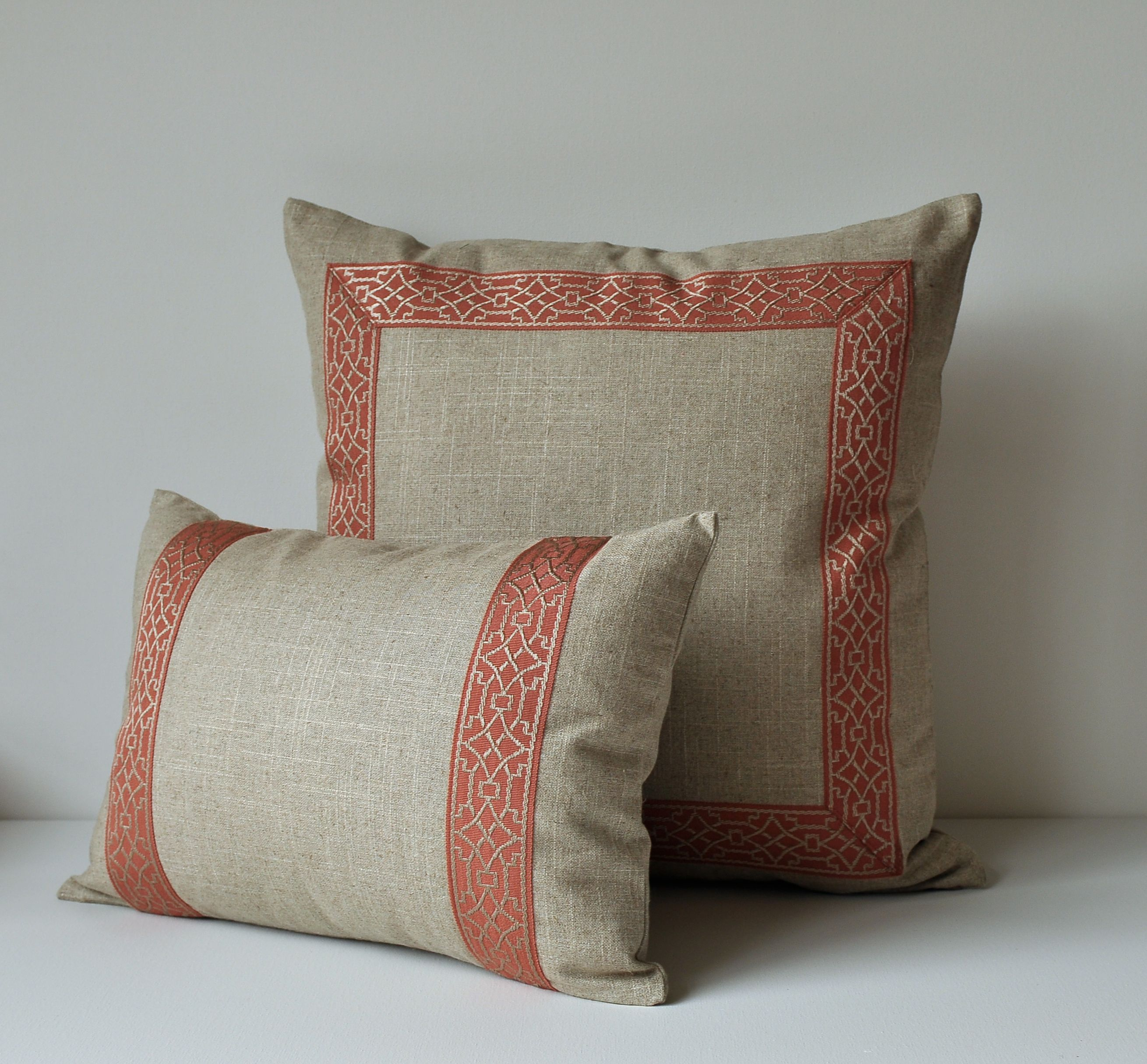 Pillow With Trim C Geometric Pattern Decorative Throw Border
