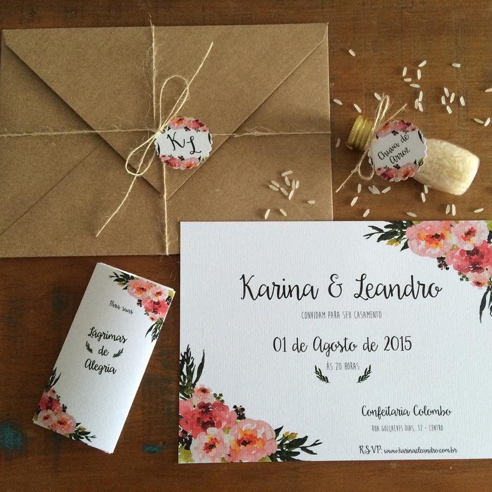 Dê um toque de charme no seu dia mais especial! Perfeito para casamentos de todos os tipos!    Envelope em papel kraft 22x15,5cm - Convite em papel vergê 180g, 21x15cm, impressão frente - Tag em papel vergê 180g 3,5cm diâmetro - Cordão em juta fininha    --- 1 unidade!! ---    - Produto por encom...