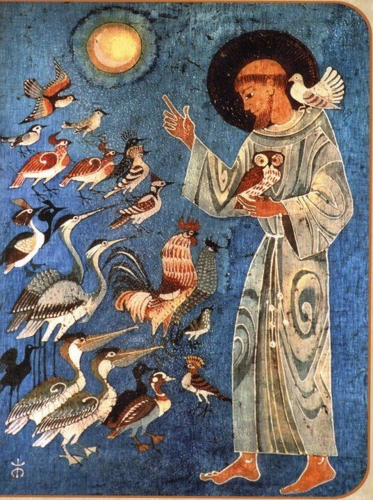 """Con sus aves.... Canto a la creación...Del dulce Francisco...¡""""Cesen ya su parloteo. Que Uds. No han parado de hablar, y a mi no me han dejado hacerlo""""!"""