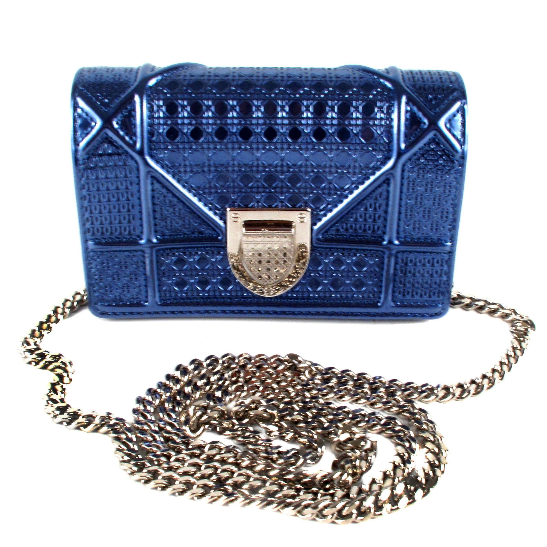 Christian Dior - Crossbody Bag - Diorama Blue Silver Mini Shoulder Handbag  - Dior - Metallic