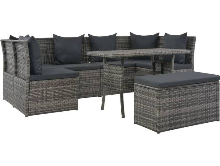 Vidaxl 8 Tlg Garten Essgruppe Mit Auflagen Poly Rattan Grau Aussenmobel Outdoor Sofa