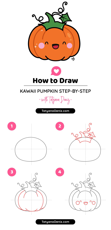 How to draw easy and cute Halloween pumpkin stepbystep