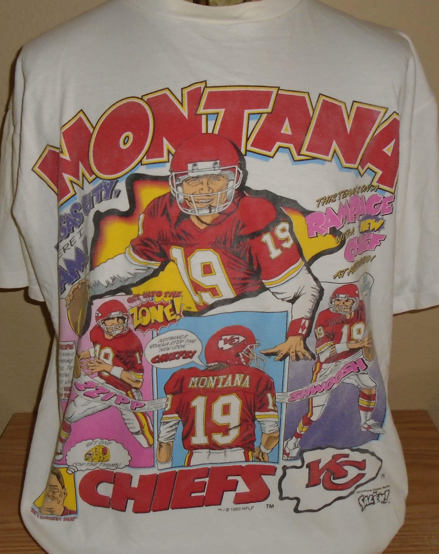 buy online 4d463 a378f vintage 1993 Joe Montana Kansas City Chiefs cartoon t shirt ...