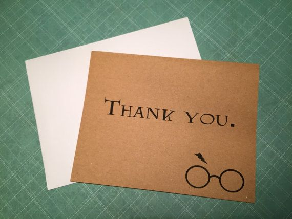 Wedding Invitation Thank You Letter: Harry Potter Inspired Thank You Note Greeting Cards Blank