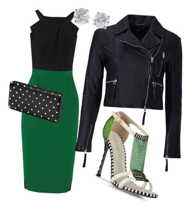 """""""Green with Envy"""" by cbutler1919 ❤ liked on Polyvore featuring Roland Mouret, Sergio Rossi, Marissa Webb, Merona and Tiffany & Co."""