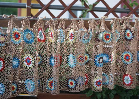 Colorful Crochet curtain filet crochet curtain. by AandRstudio ...