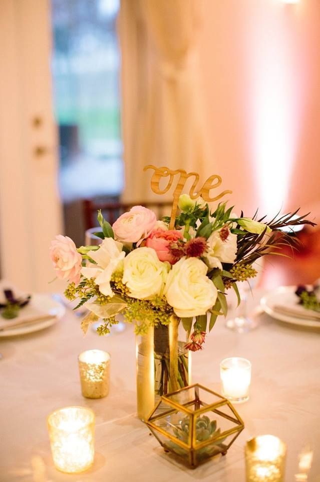 pink and white wedding centerpieces  gold wedding details  romantic rustic wedding  wood wedding details