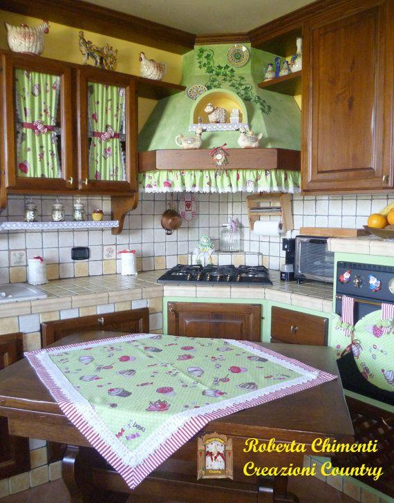 Coordinato cucina country, centrotavola, tendine per mobili ...