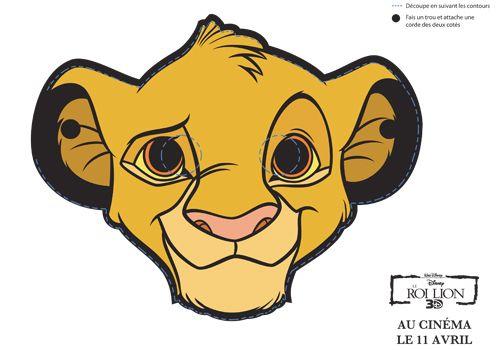 Masque roi lion simba enfant masques pinterest anniversaire roi lion le roi lion et - Images de lions a imprimer ...