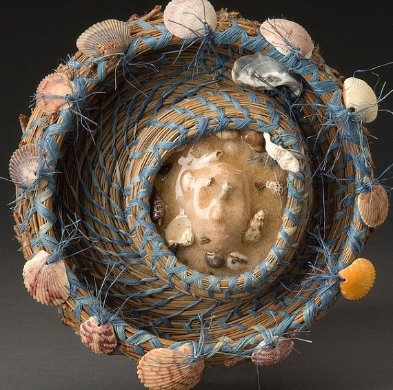 Beach Wall Sculpture, Woven Wall Hanging, Shells, Wave Washed Face, Pine Needle Basket - Sand Siren, FREE SHIPPING