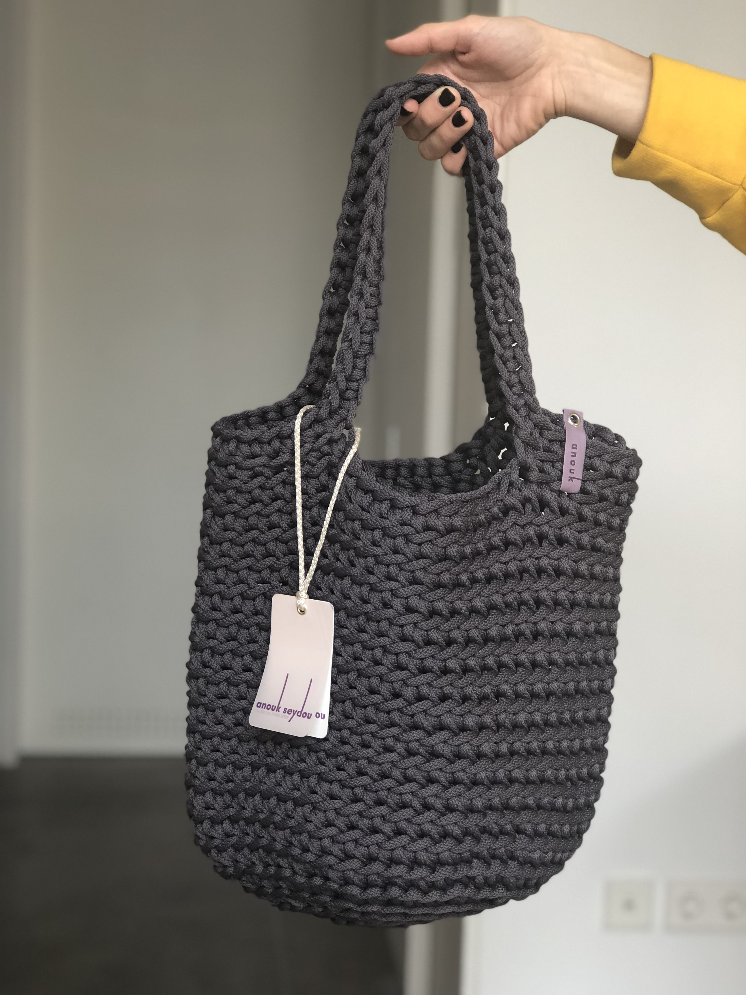 64ea6e142 Scandinavian style and design inspired crocheted tote bag in Matte Grey  colour (short or long