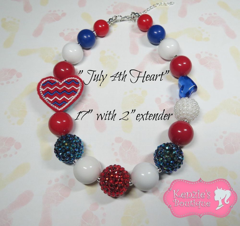 """July 4th Heart"" Chunky Beaded Necklace, Photo Prop, Children, Adult, Child"