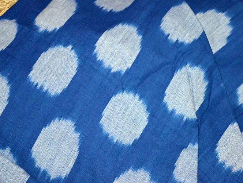 Blue Indian Handloom Ikat Cotton Fabric By Yard Homespun