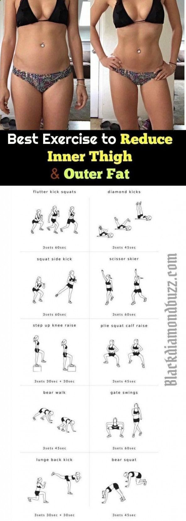 Belly Fat Workout - Fat Fast Shrinking Signal Diet-Recipes Best Exercise to Reduce Inner Thigh and Outer Fat Fast in a Week: In the exercise you will learn how to get rid of that suborn thigh fat and hips fat at home by eva.ritz  Follow PowerRecipes For #Howtoburnbellyfatinaweek -   18 fitness workouts thighs ideas
