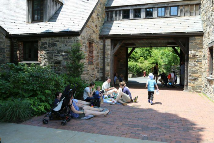 The courtyard at Stone Barns in Pocantico Hills, New York - brunch survival guide - via brunchwithmybaby.com