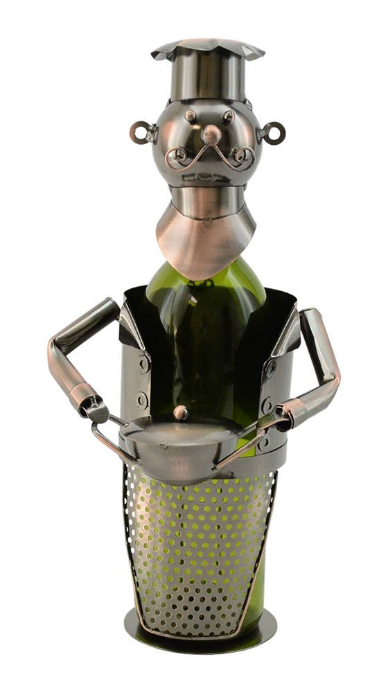 Happy Mustache Chef With Pie Pot Metal Wine Bottle Holder Character