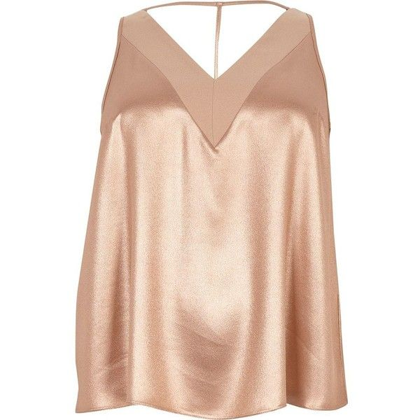 25e24b695e586e River Island Plus rose gold metallic T-bar cami top (105 RON) ❤ liked on  Polyvore featuring plus size women s fashion