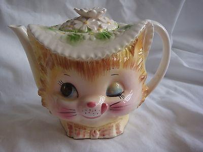 rare lefton enesco vintage miss priss teapot set winking kitty cat