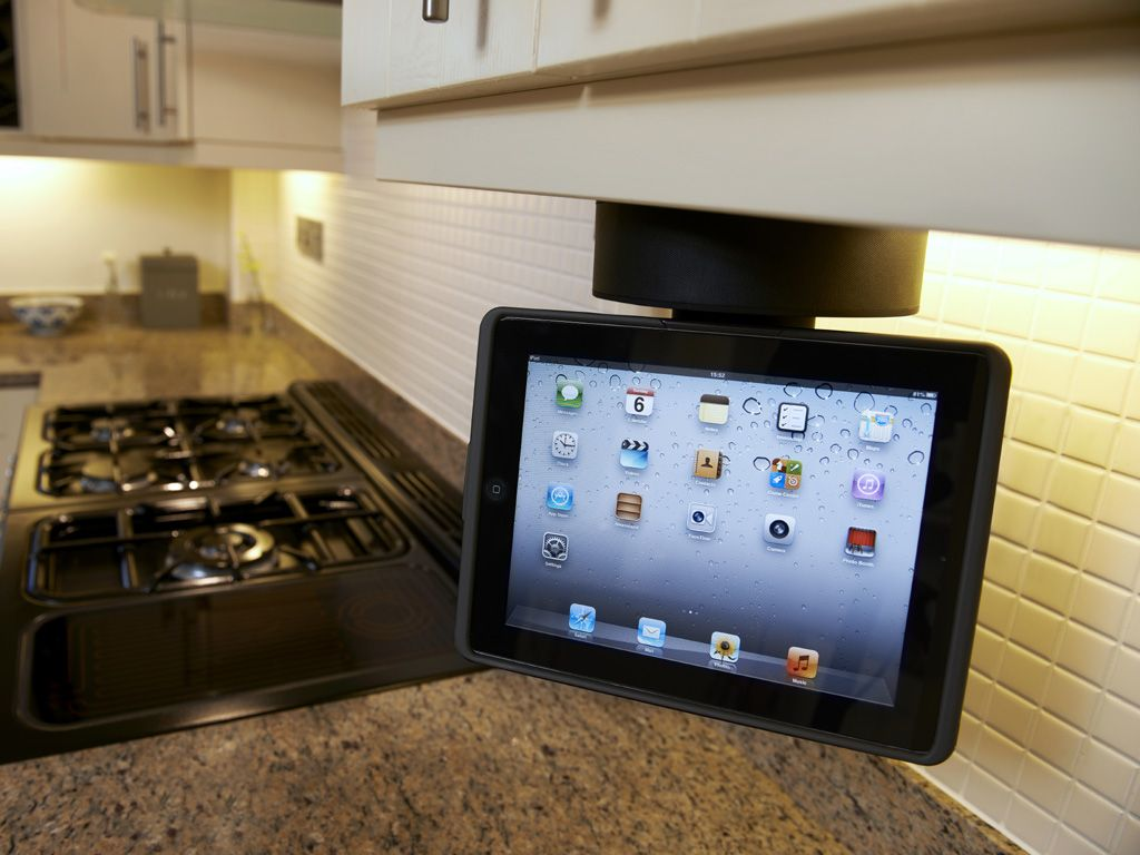 Kitchen tv under cabinet - 15 Platinum Grey Silver Flipdown Kitchen Tv Sovos Ipad Ps Tv Under Kitchen Cabinet