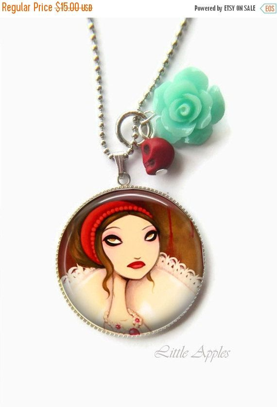 New to LittleApples on Etsy: ON SALE goth lady necklace dark fairy tale whimsical wearable art (12.00 USD)