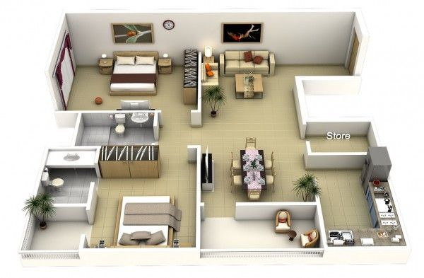 2 Bedroom Apartment House Plans 2 Bedroom Apartment Floor Plan Apartment Floor Plans 3d House Plans