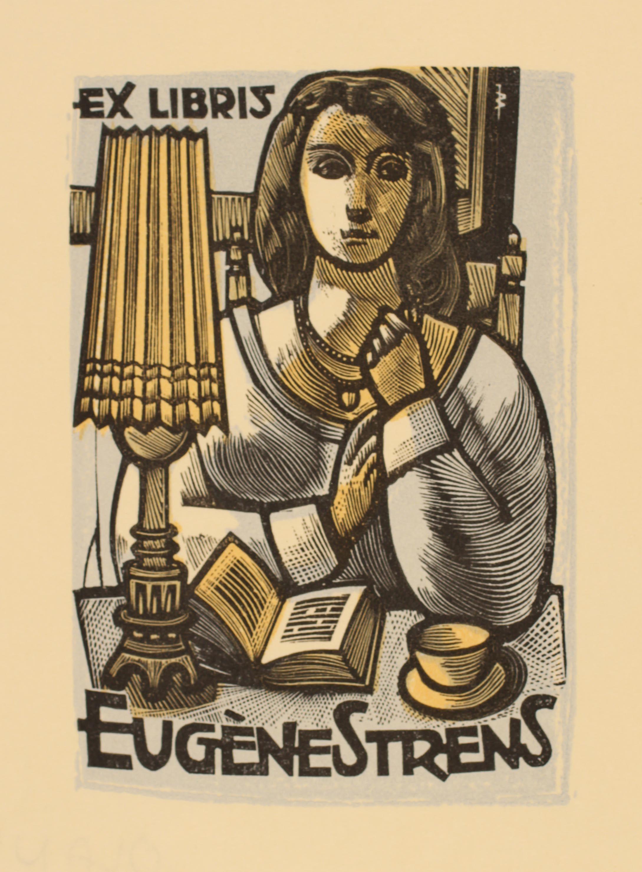 Ex Libris by Jan Battermann for Eugene Strens, 1961