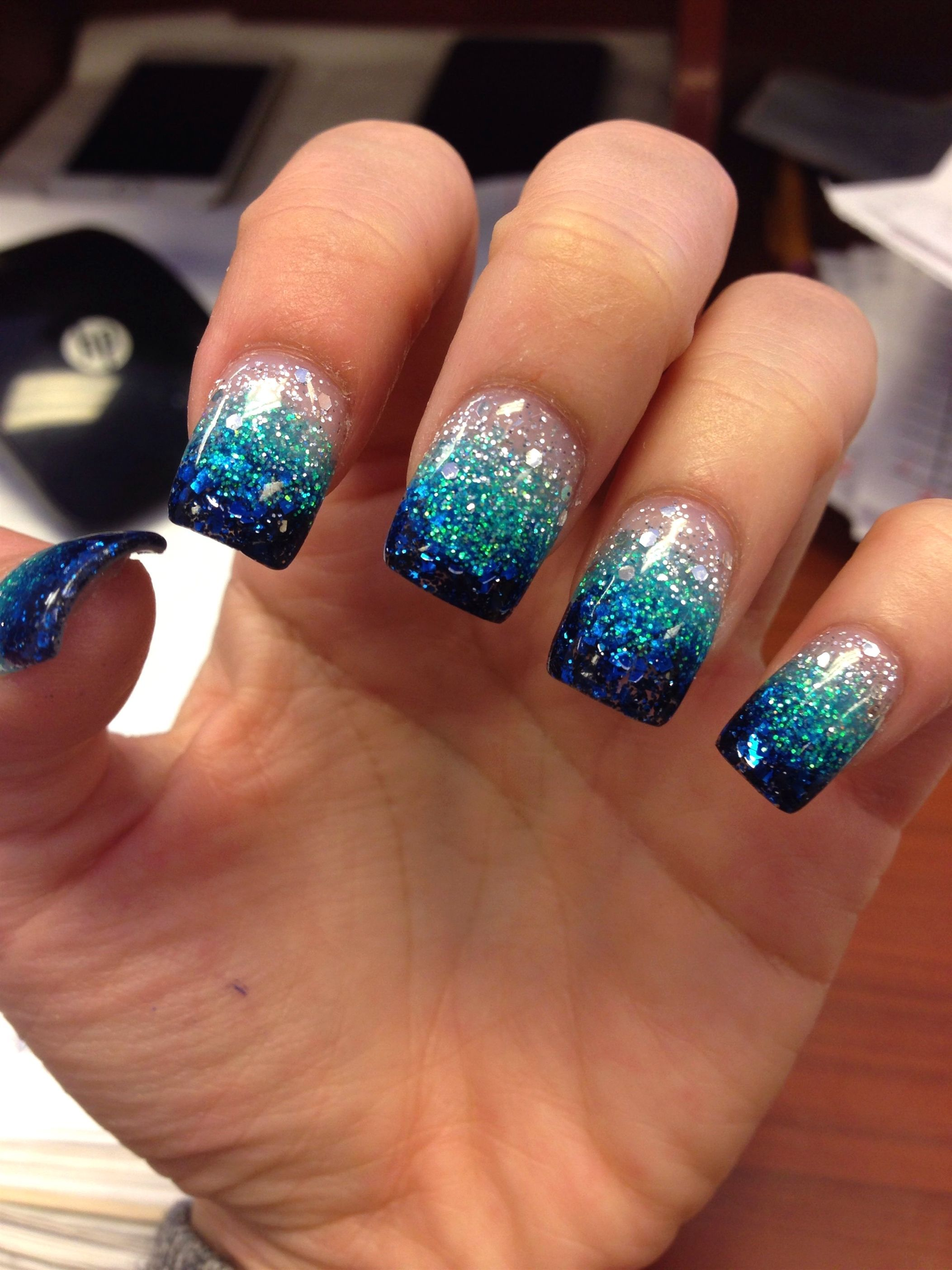 Blue teal glitter faded nails #AcrylicNailDesigns - Blue ...