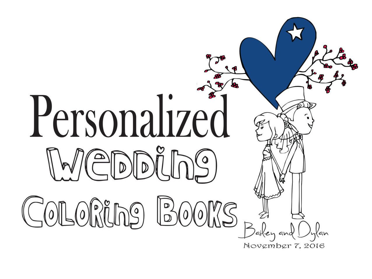 rustic wedding coloring book for your ring bearer of flower girl customize personalized wedding - Flower Girl Coloring Book