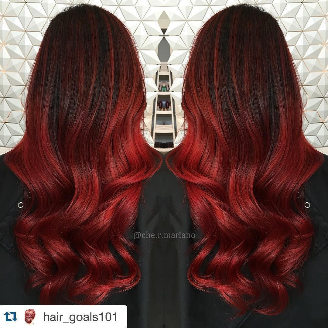 Blend Salon On Instagram Love This Color Blendsalonlv Repost Hair Goals101 With Repostapp Hair Color Red Ombre Ombre Hair Color Brown Ombre Hair