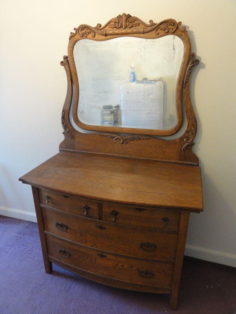 19th Cen Antique American Golden Oak Dresser With Mirror Ebay