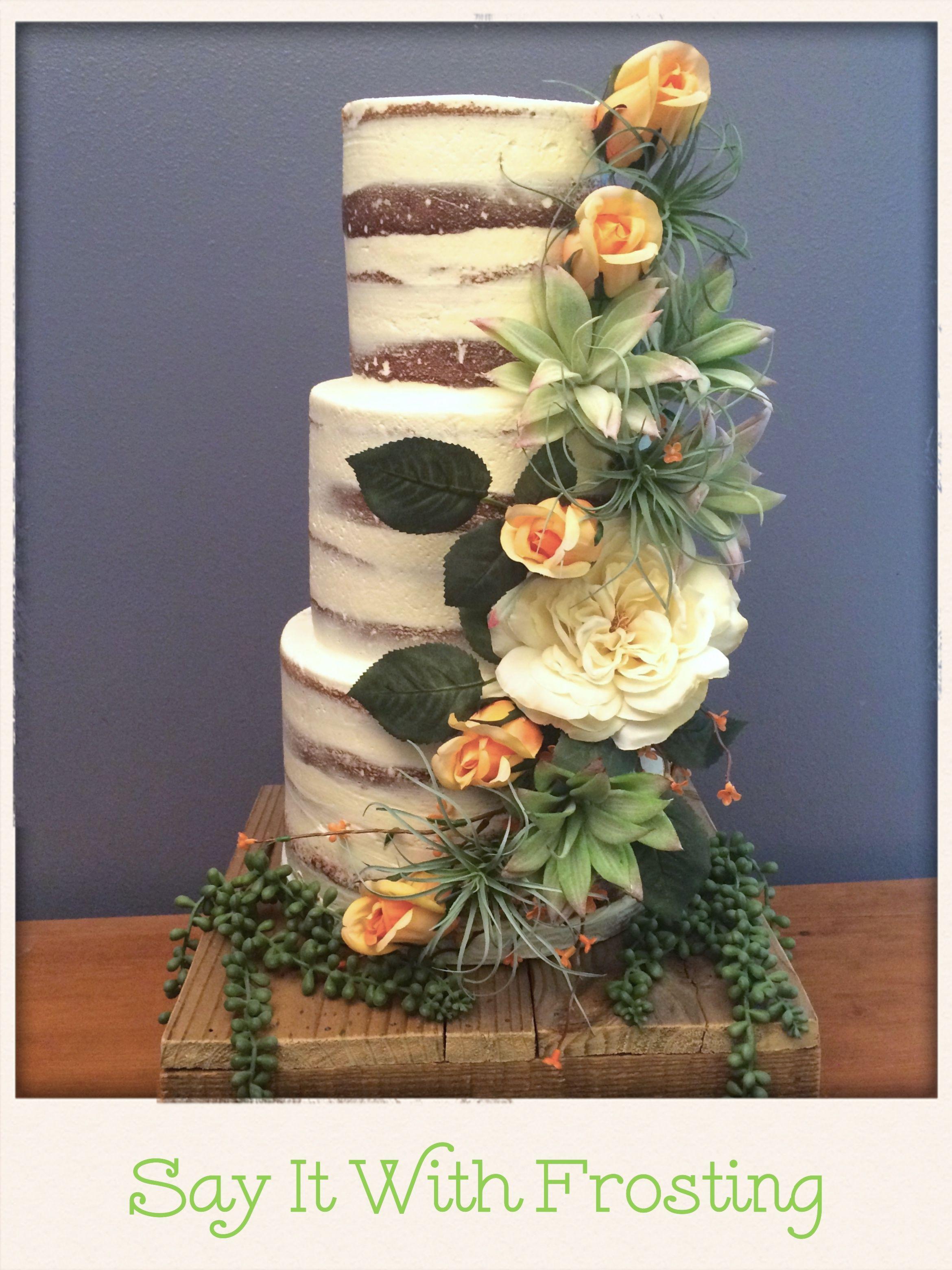 Semi Naked Wedding Cake For A Pensacola Beach Destination Reception At The