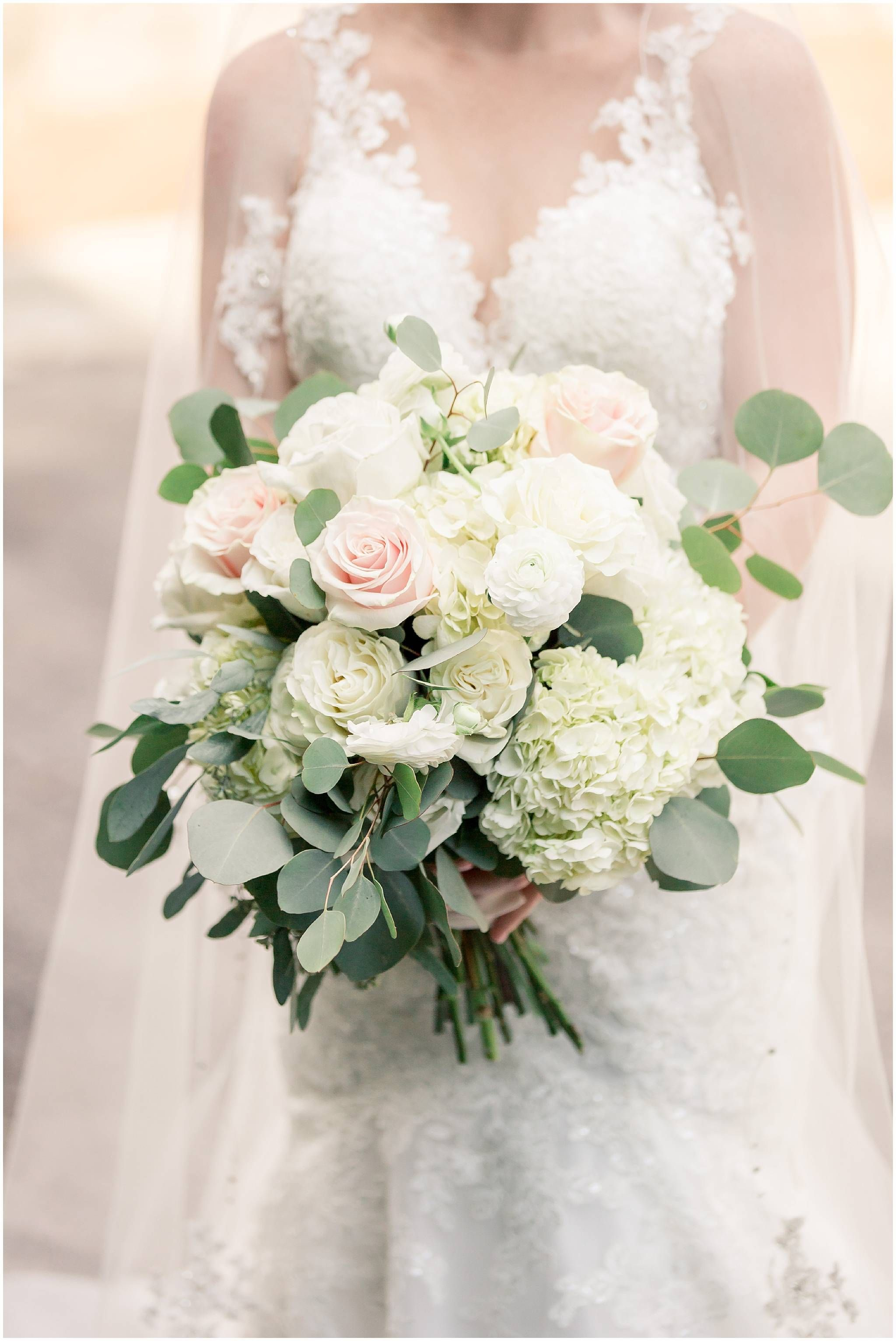 Romantic Bridal Bouquet Large Brides Bouquet Eucalyptus Roses Hydrangeas Garden Rose Greene Bridal Bouquet Pink Blush Bridal Bouquet White Bridal Bouquet