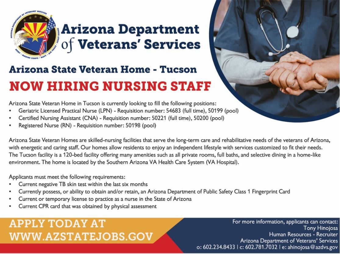 NOW HIRING! Check out these job openings at our Arizona