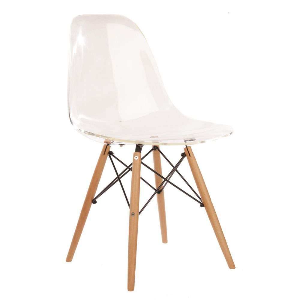 Eames Style Molded Plastic Side Chair with Wood Base