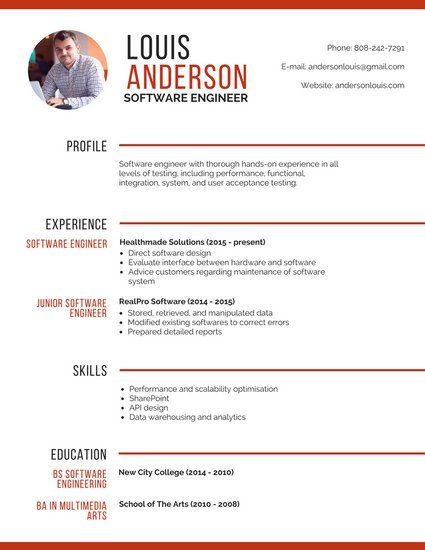 Professional Software Engineer Resume Resume ideas Pinterest - software engineer resume template