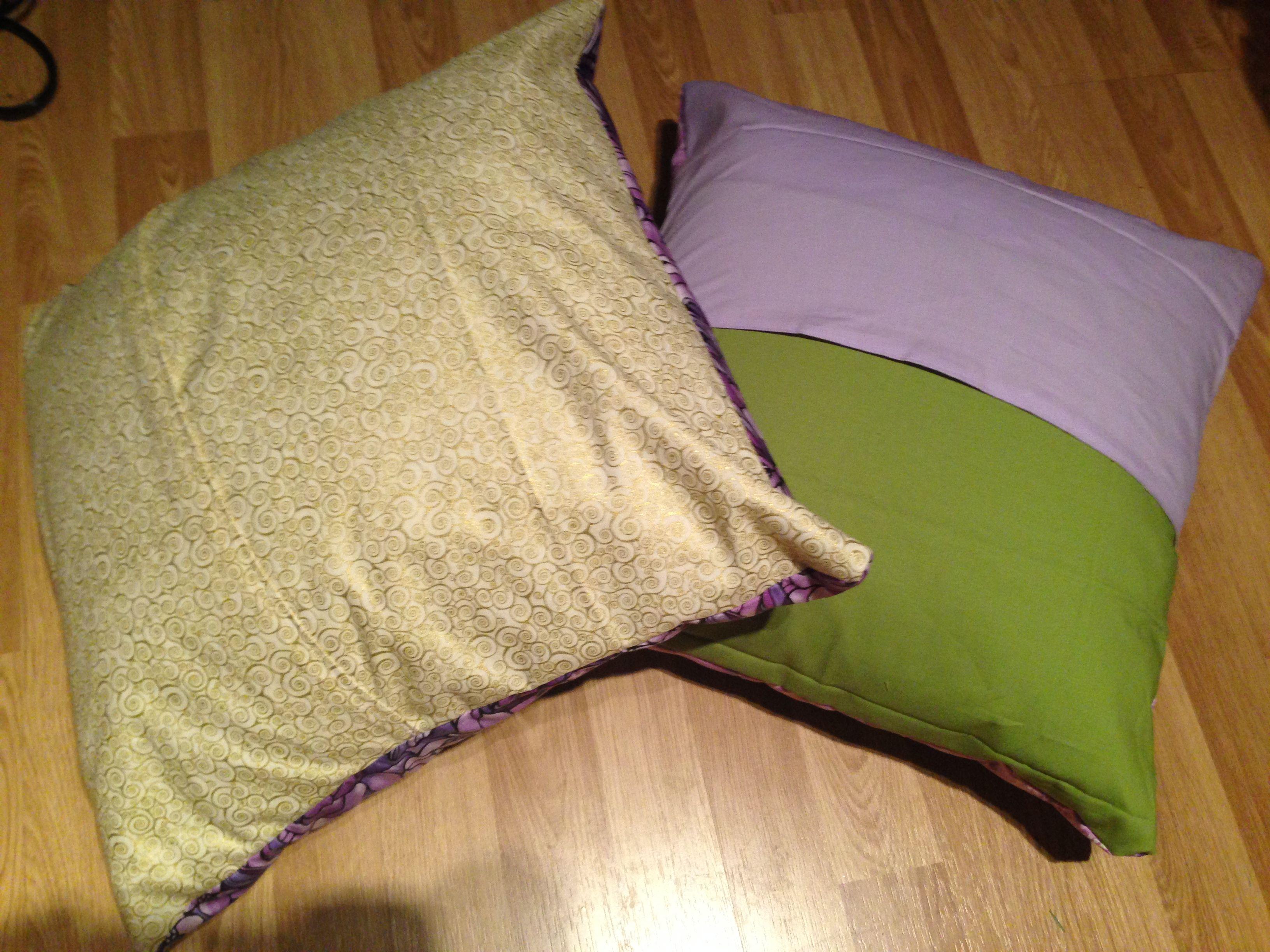 Backs of purple cushions