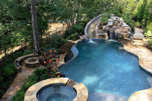 Pool With Slide Waterfall Grotto Cave Pool Waterfall Pool