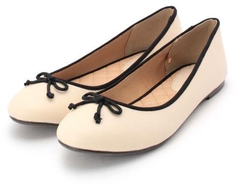 hushush リボンツキパイピングバレーシューズ ぺたんこ靴 バレーシューズ 靴