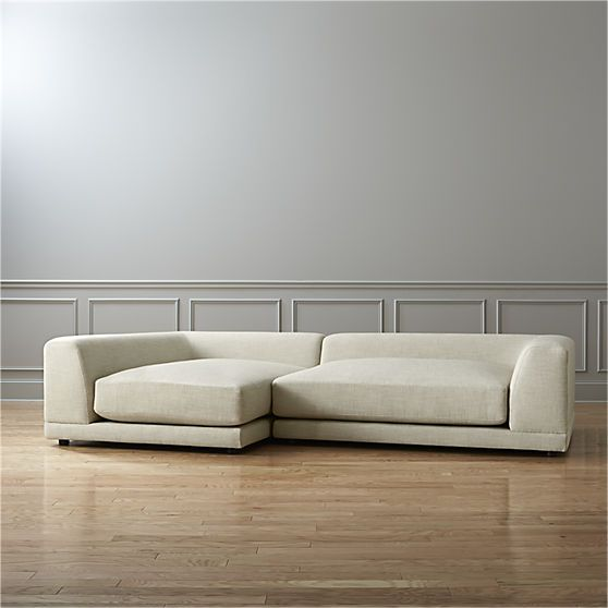 Uno 2 Piece Sectional Sofa Cream Puff Cb2