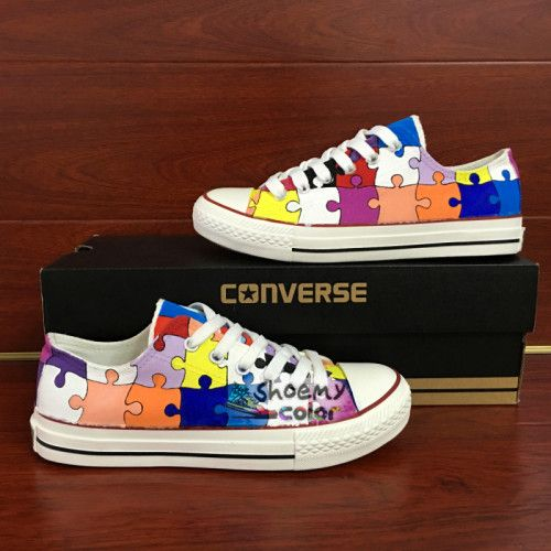 Converse All Star Puzzle Hand Painted Shoes Low Top Canvas