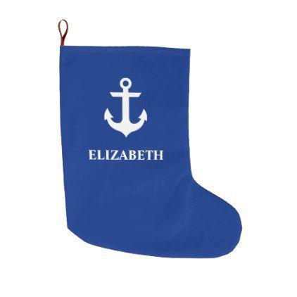 Nautical Anchor Name Blue Large Christmas Stocking