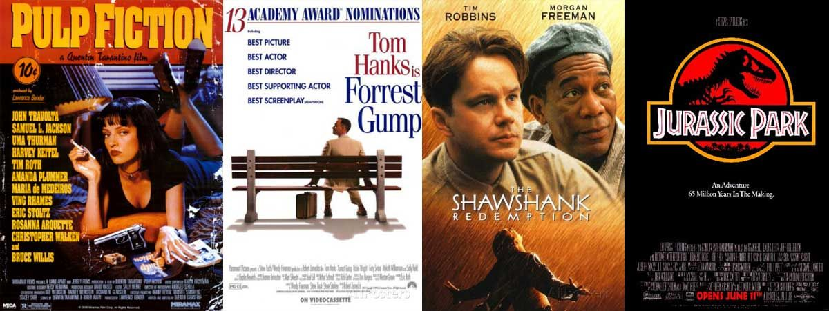 Image result for Pulp Fiction, The Shawshank Redemption, and Jurassic Park forrest gump[